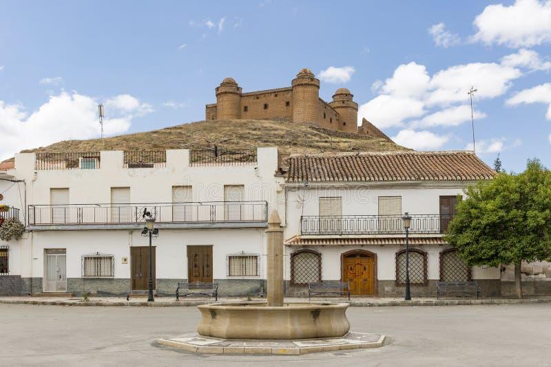 Place à la ville de Calahorra de La et au Château-palais antique photographie stock