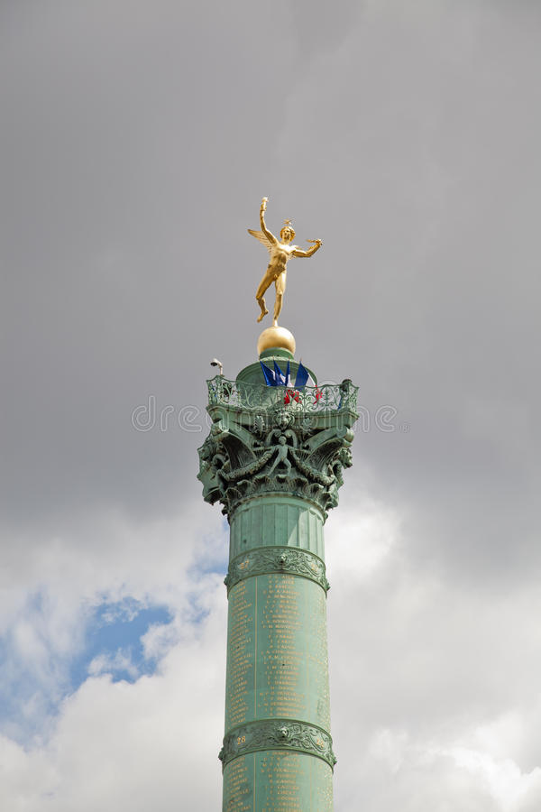 Place of the Bastille in Paris stock images