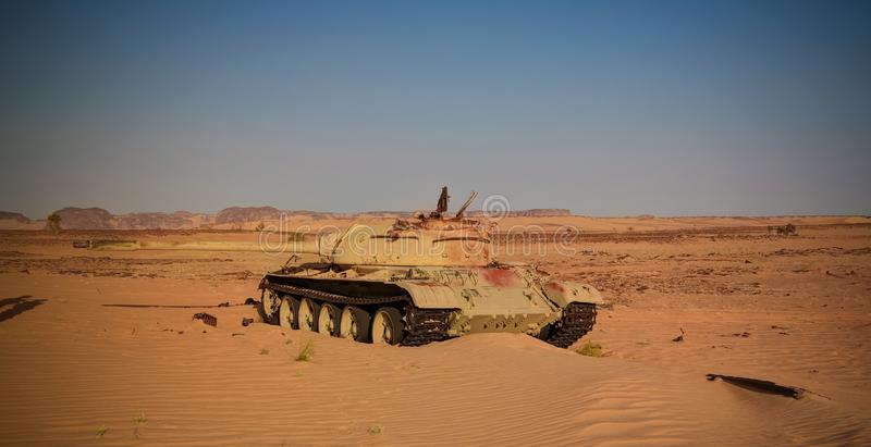 Place of the battle at Bir Kora during the Chadian Libyan conflict aka War at 1987 in Ennedi, Chad royalty free stock photo
