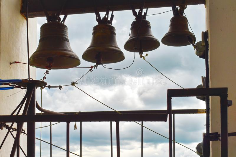 Big pig-iron bell in the bell tower in church royalty free stock images