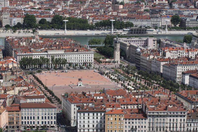 Place Bellecour in Lyon. View of place Bellecour in Lyon from Fourvière hill stock photo