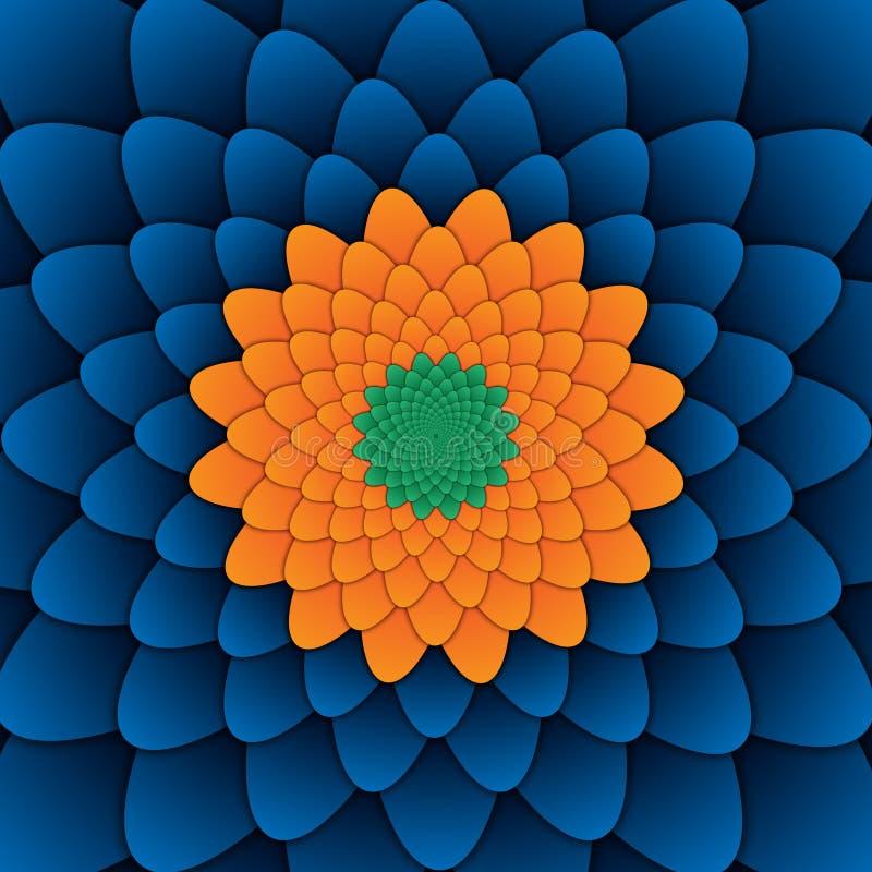 Place bleue de fond de fleur de modèle décoratif abstrait de mandala image libre de droits