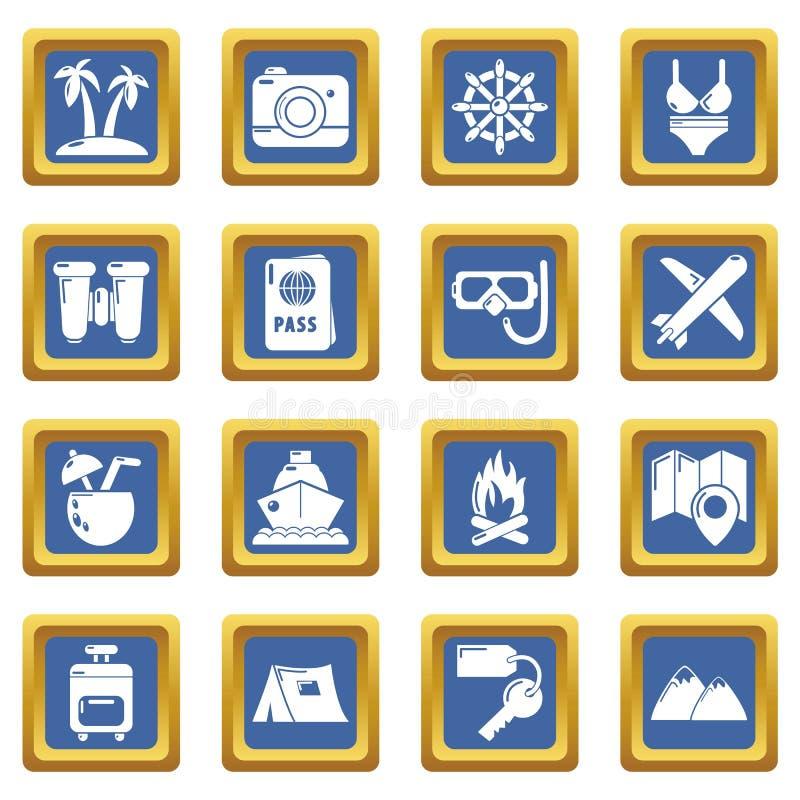Place bleue réglée par icônes d'été de voyage illustration stock