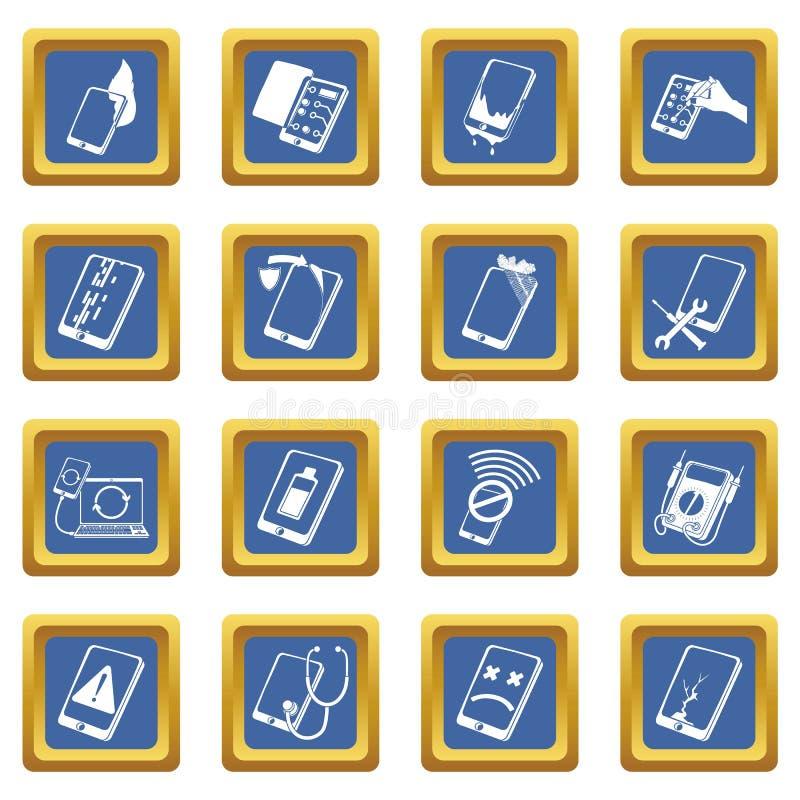 Place bleue réglée par icônes de difficulté de téléphones de réparation illustration de vecteur