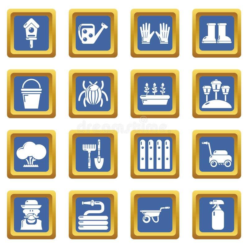 Place bleue réglée par icônes de jardinier illustration stock