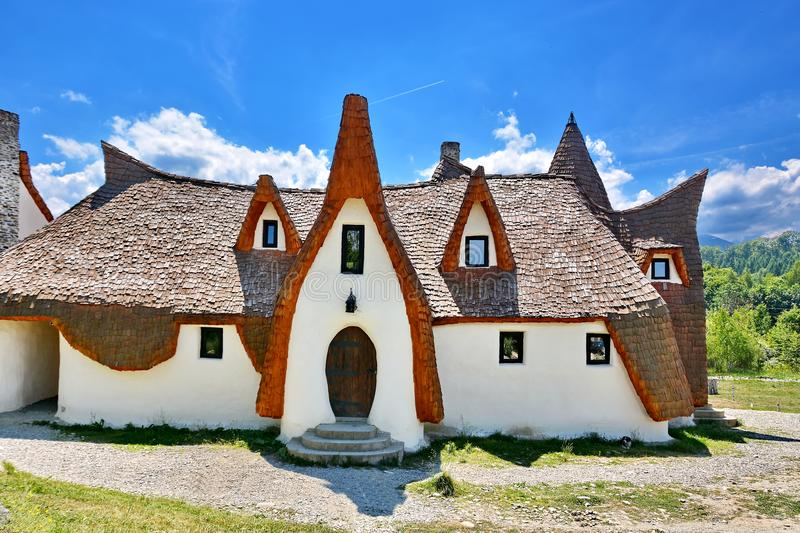 Clay Castle of the Valley of Fairies, Romania. A place called Castelul De Lut din Valea Zanelor Clay Castle of the Valley of Fairies, a new construction that stock image