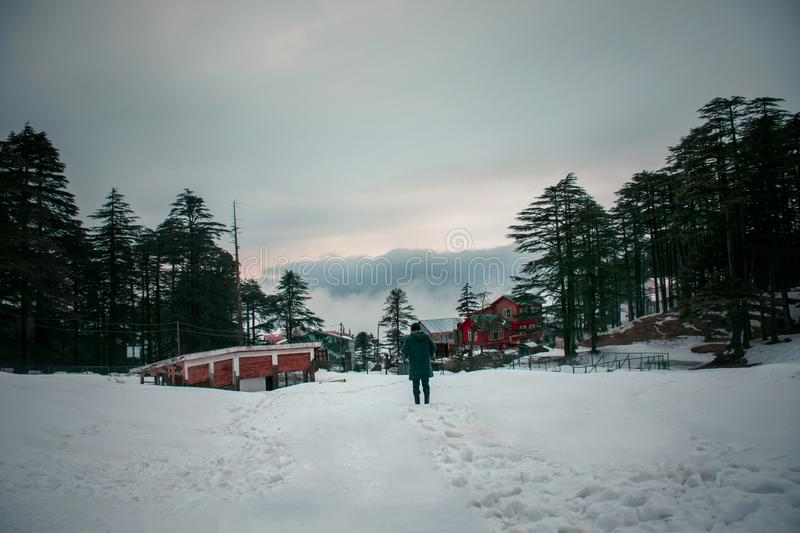 Landscape of Patnitop, Jammu, India. This place called Patnitop is located in the State of Jammu, India. During winters, this place got covered in the snow & stock images