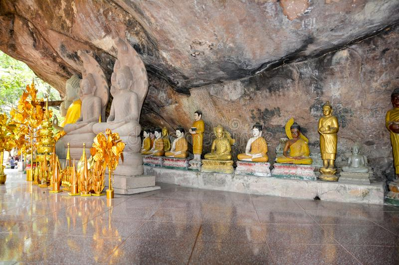 A place carved into the rock for offering gifts to the gods. Cambodia royalty free stock photography