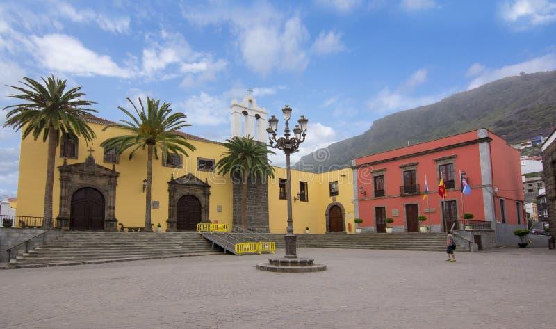 Place centrale à Garachico, Ténérife, Îles Canaries, Espagne image libre de droits