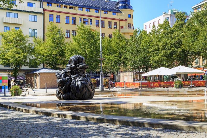 Place centrale d'Orebro, Suède photo stock