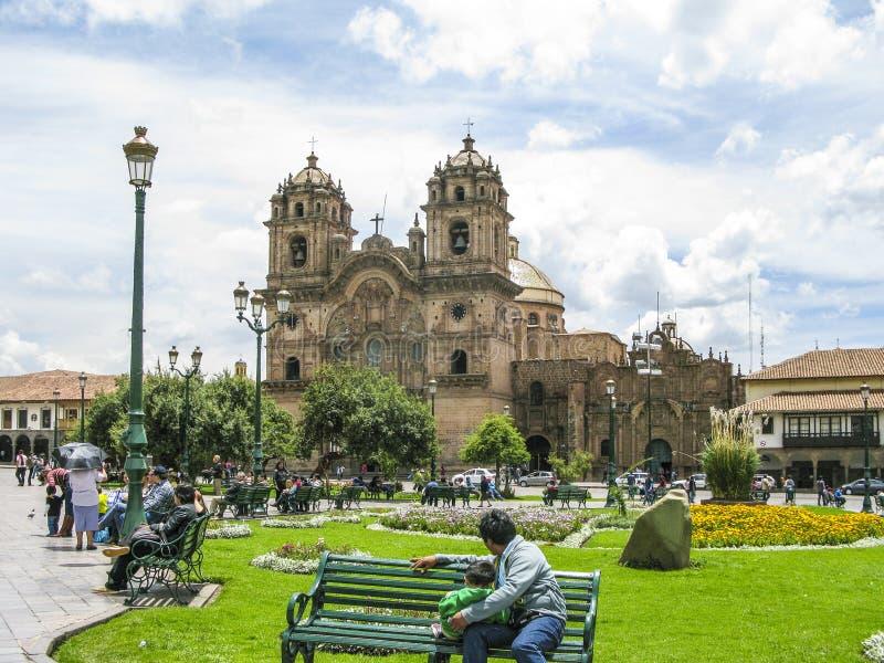 Place centrale dans Cuzco, Plaza de Armas peru images stock
