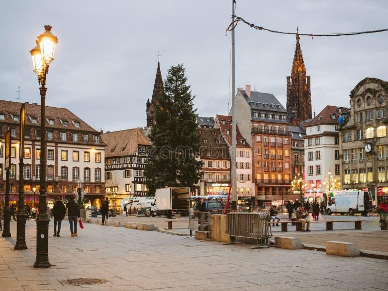 Place centrale dans l'endroit Kleber de Strasbourg de Frances photographie stock libre de droits