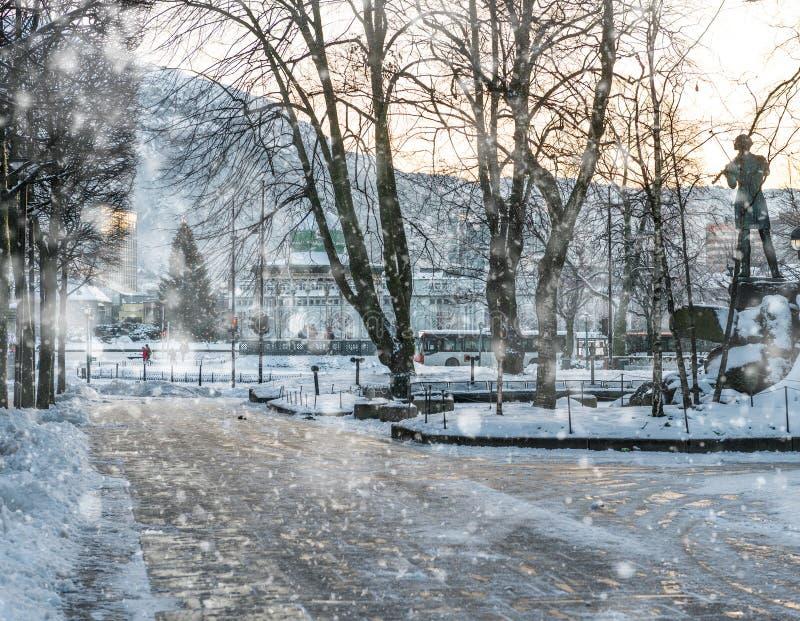 Place centrale de Bergen photos stock