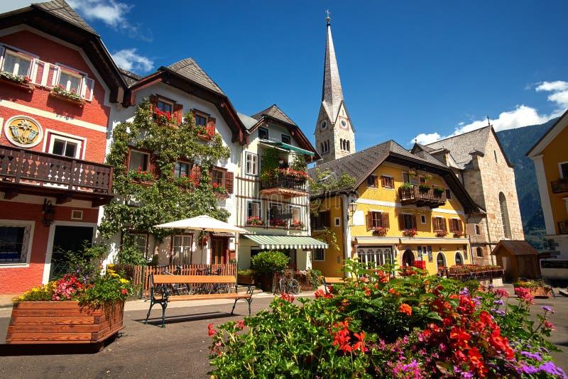 Place centrale de village de Hallstatt photos stock