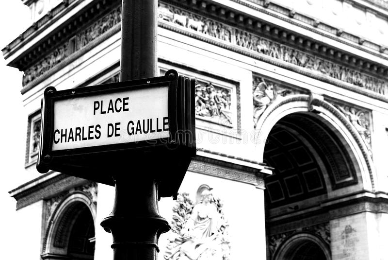 Parisian Street Signs. Place Charles de Gaulle stock photography