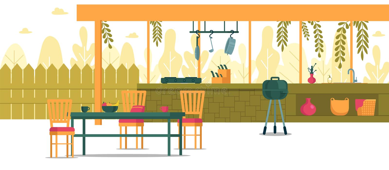 Place for Cooking in Backyard, Cartoon Banner. royalty free illustration