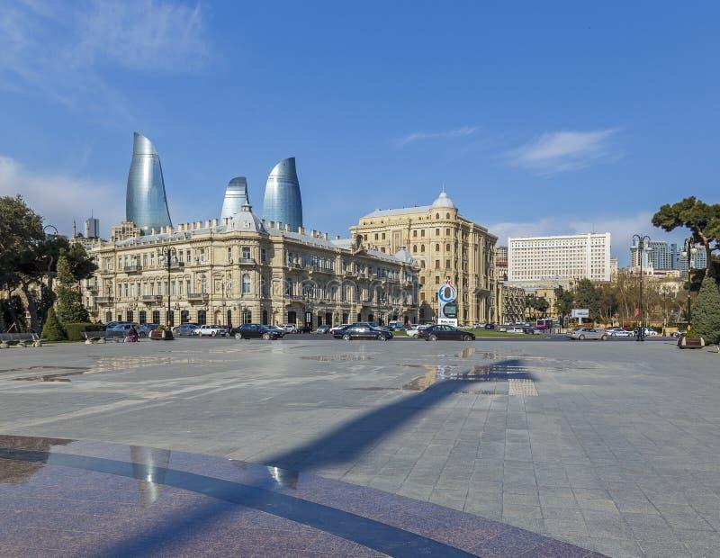 Place d'Azneft à Bakou photographie stock libre de droits