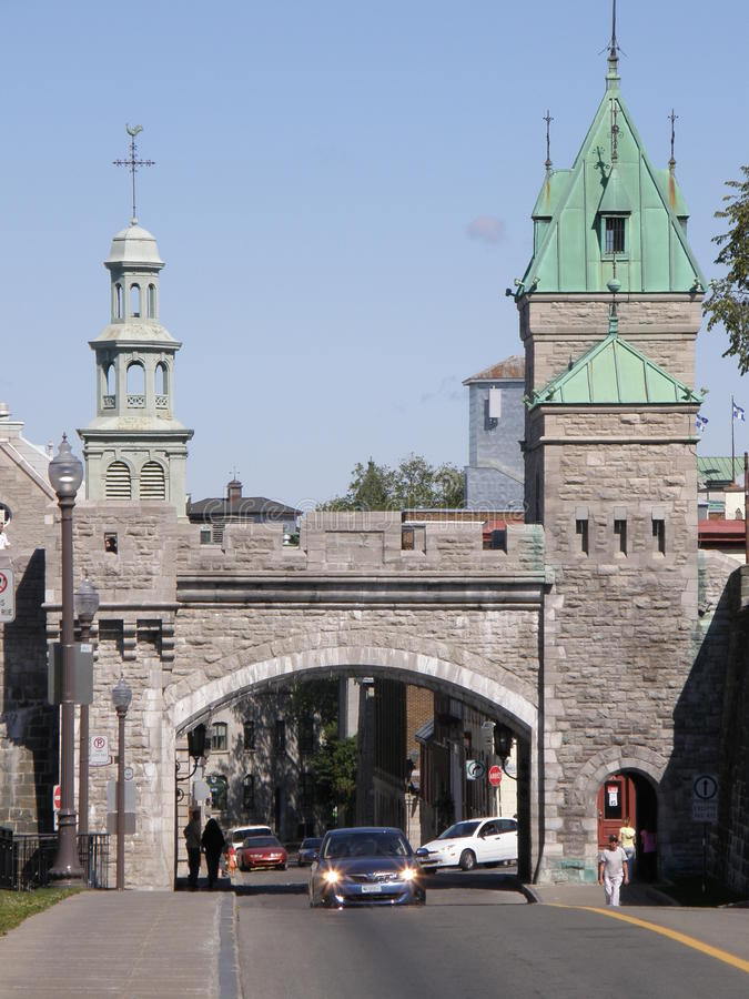 Place d'Youville in Quebec City, Canada. Fortress Gate at Place d'Youville in Quebec City, Canada stock images