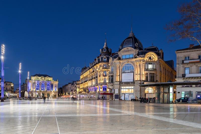 Place de Λα Comedie πλατεία στο σούρουπο, Μονπελιέ, Γαλλία στοκ φωτογραφία με δικαίωμα ελεύθερης χρήσης