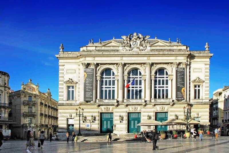 Place de Λα Comedie - τετράγωνο θεάτρων του Μονπελιέ στοκ εικόνες