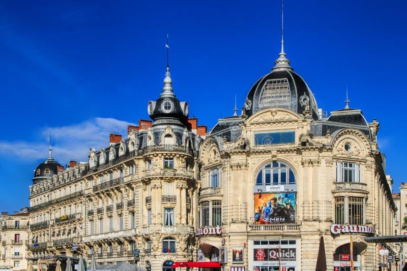 Place de Λα Comedie - τετράγωνο θεάτρων του Μονπελιέ στοκ φωτογραφίες