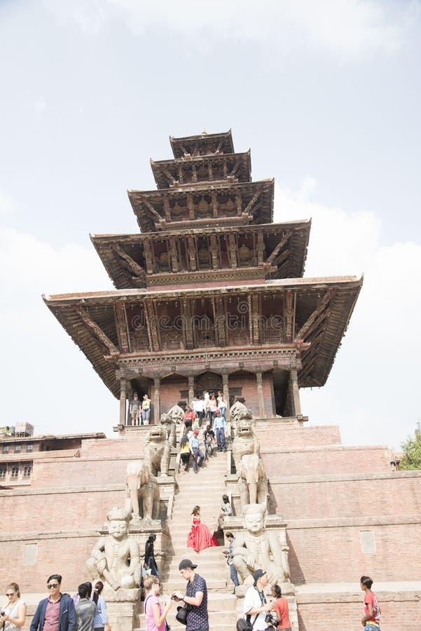 Place de Bhaktapur Durbar de temple de Nyatapola, site de patrimoine mondial, Népal photo libre de droits