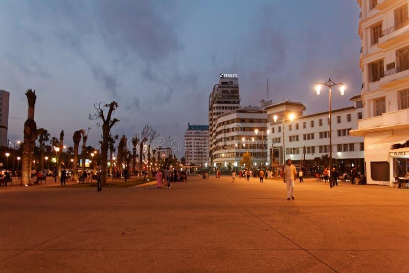Place 5 de Casablanca les Nations Unies photographie stock