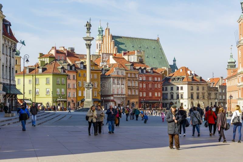 Place de château et statue du Roi Zygmunt III Waza photographie stock libre de droits