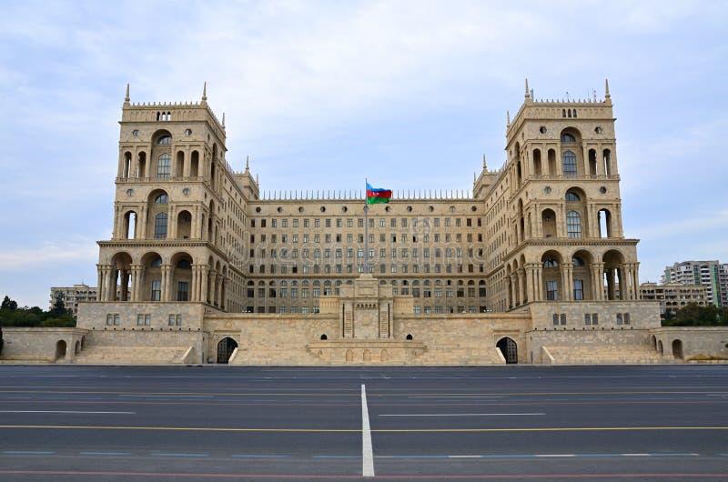 Place de ` d'Azadlig de ` de liberté à Bakou Chambre et Conseil des ministres de gouvernement image libre de droits