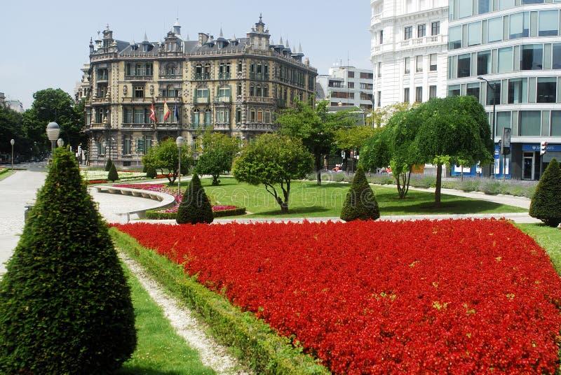 Place de Federico de Moyua dans la ville de Bilbao, Espagne photos stock