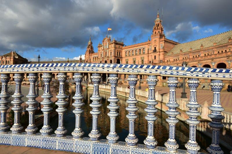 Place de l'Espagne, Séville, avec son architecture étonnante photographie stock libre de droits