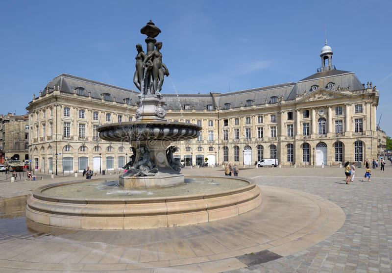 Place de la Bourse在红葡萄酒,法国 免版税图库摄影