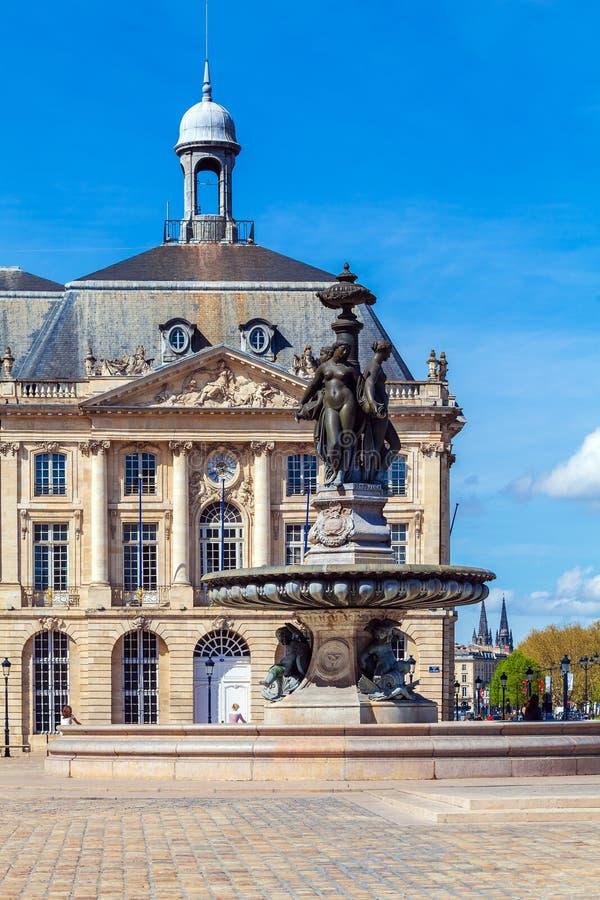 Place de la Bourse, Bordeaux, France. Place de la Bourse (1745-1747, designed by Jacques-Ange Gabriel), Bordeaux, France royalty free stock photo