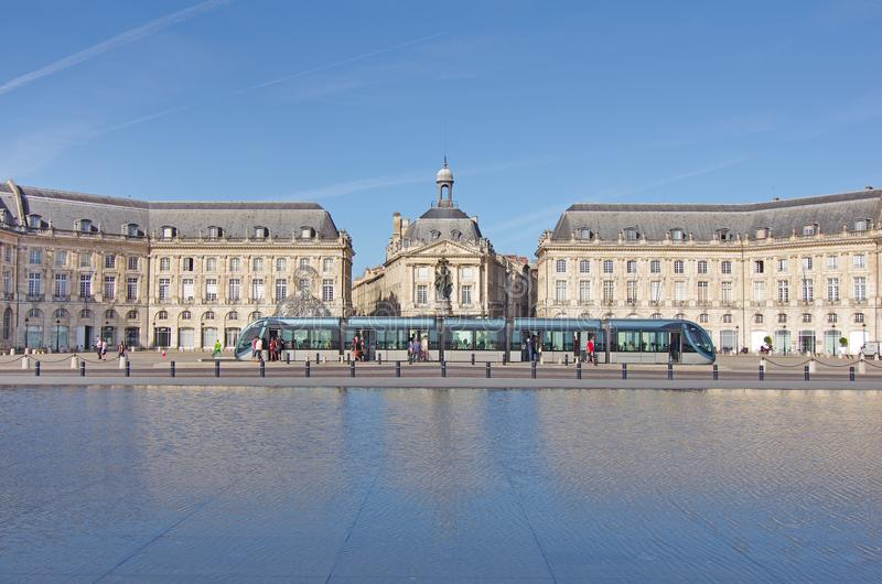 Bordeaux town, Place de la bourse with tram. The `Place de la Bourse` in Bordeaux was designed by the royal architect Jacques Ange Gabriel between 1730 and 1775 stock photos