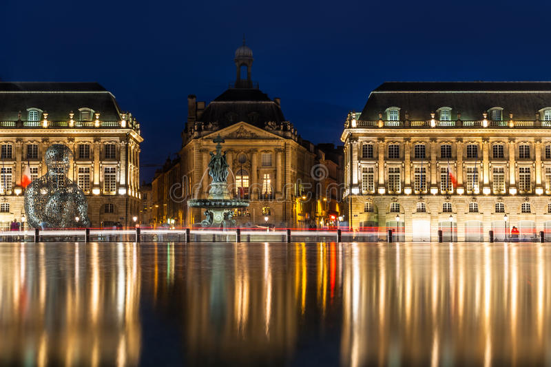 Place de la Bourse in the city of Bordeaux, France. With reflection from water fountain stock photo