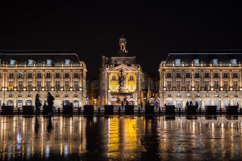 Place de la Bourse Miroir d eau. Place de la Bourse is one of the most recognizable sights of Bordeaux. Its architect was Ange-Jacques Gabriel. It was built from royalty free stock photo