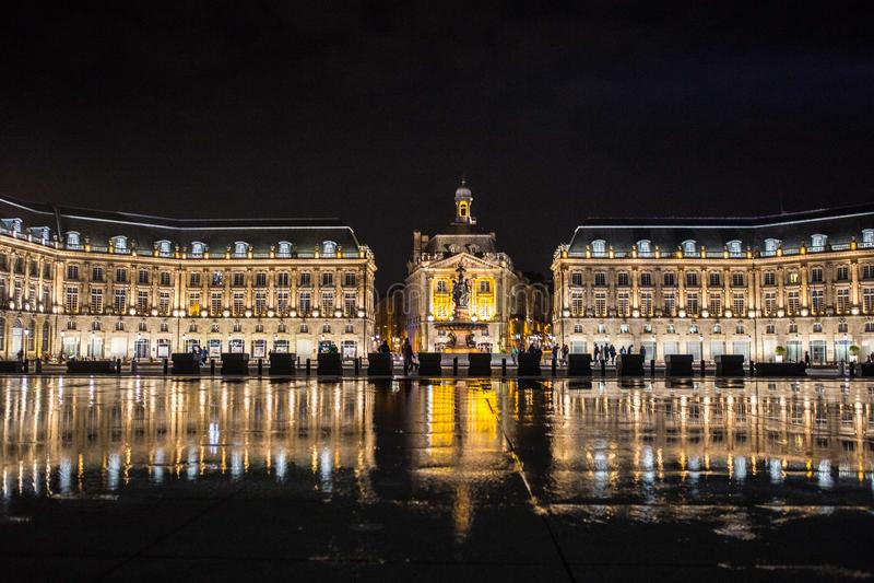Place de la Bourse Miroir d eau. Place de la Bourse is one of the most recognizable sights of Bordeaux. Its architect was Ange-Jacques Gabriel. It was built from stock photography