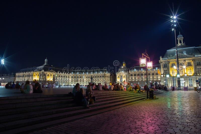 BORDEAUX, GIRONDE/FRANCE - June 6, 2017 : Miroir d`Eau at Place de la Bourse in Bordeaux. Unidentified people. Place de la Bourse is a square in Bordeaux, France stock image