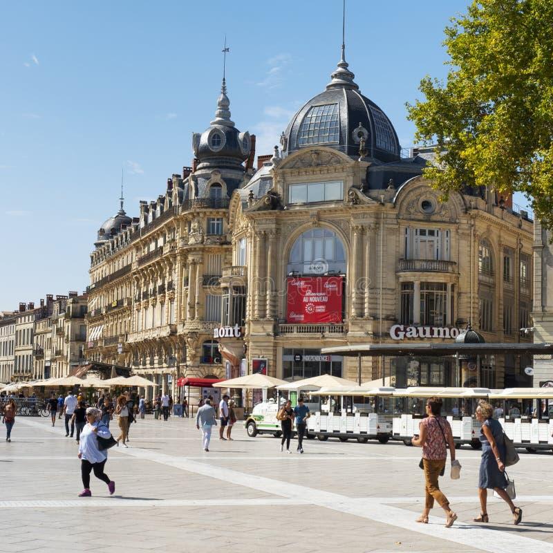 Place de la Comedie square in Montpellier, France stock images