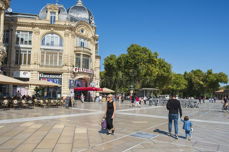 Place de la Comedie square in Montpellier, France royalty free stock image