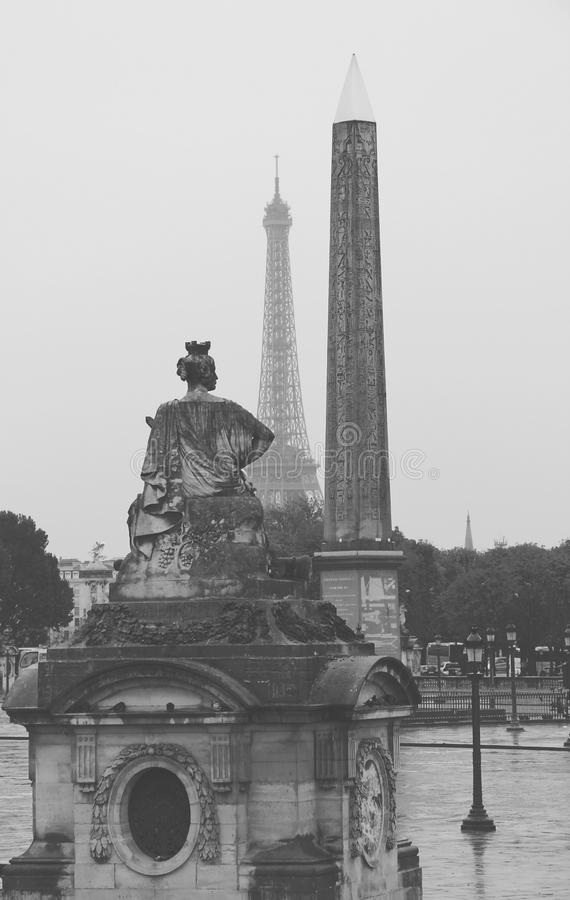 Place de la Concorde in Paris. Egiptian obelisk and Eiffel Tower stock image