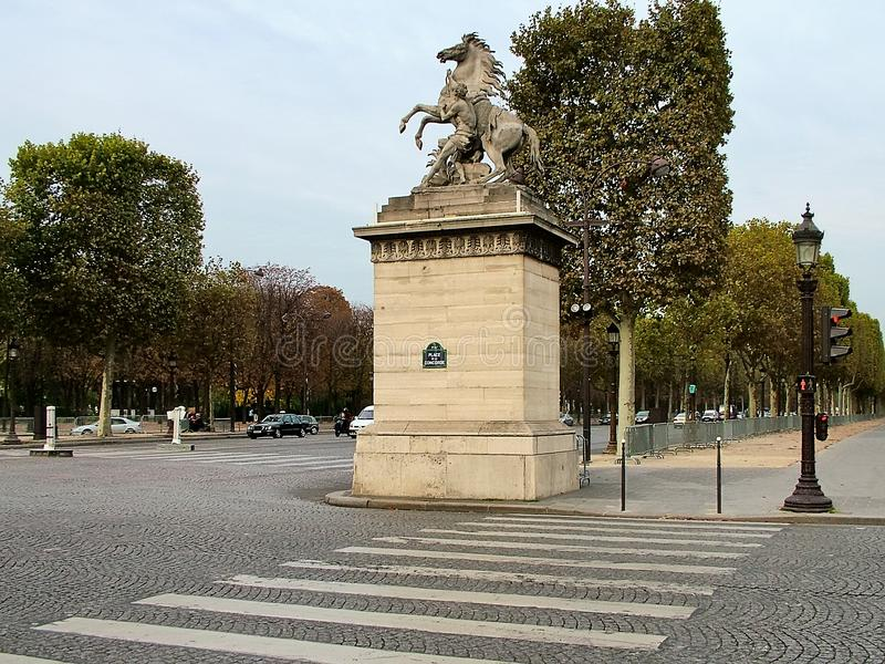 The beginning of the famous Champs Elysees in Paris royalty free stock image