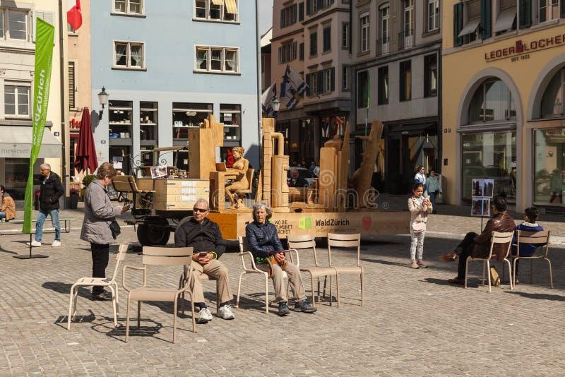 Place de Munsterhof au centre historique de Zurich photo libre de droits