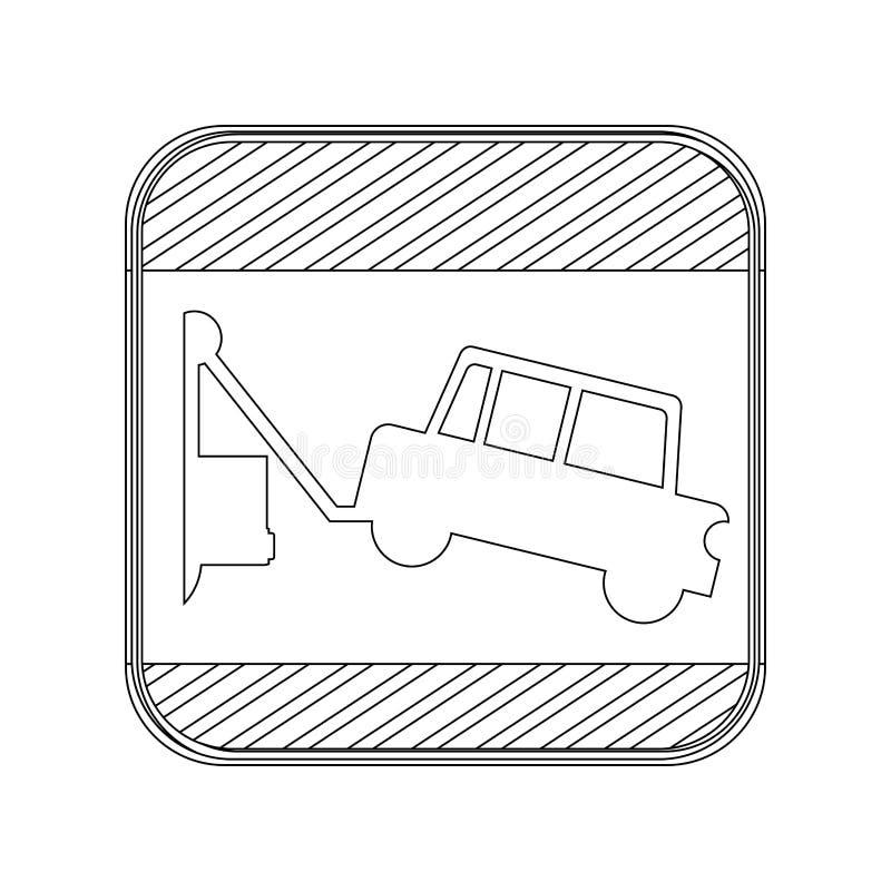 Place de panneau routier de bouton de silhouette avec la dépanneuse illustration de vecteur