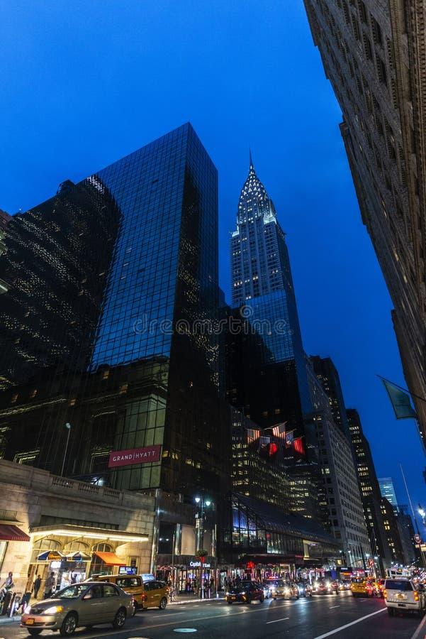 Place de Pershing la nuit à New York City, Etats-Unis photos libres de droits