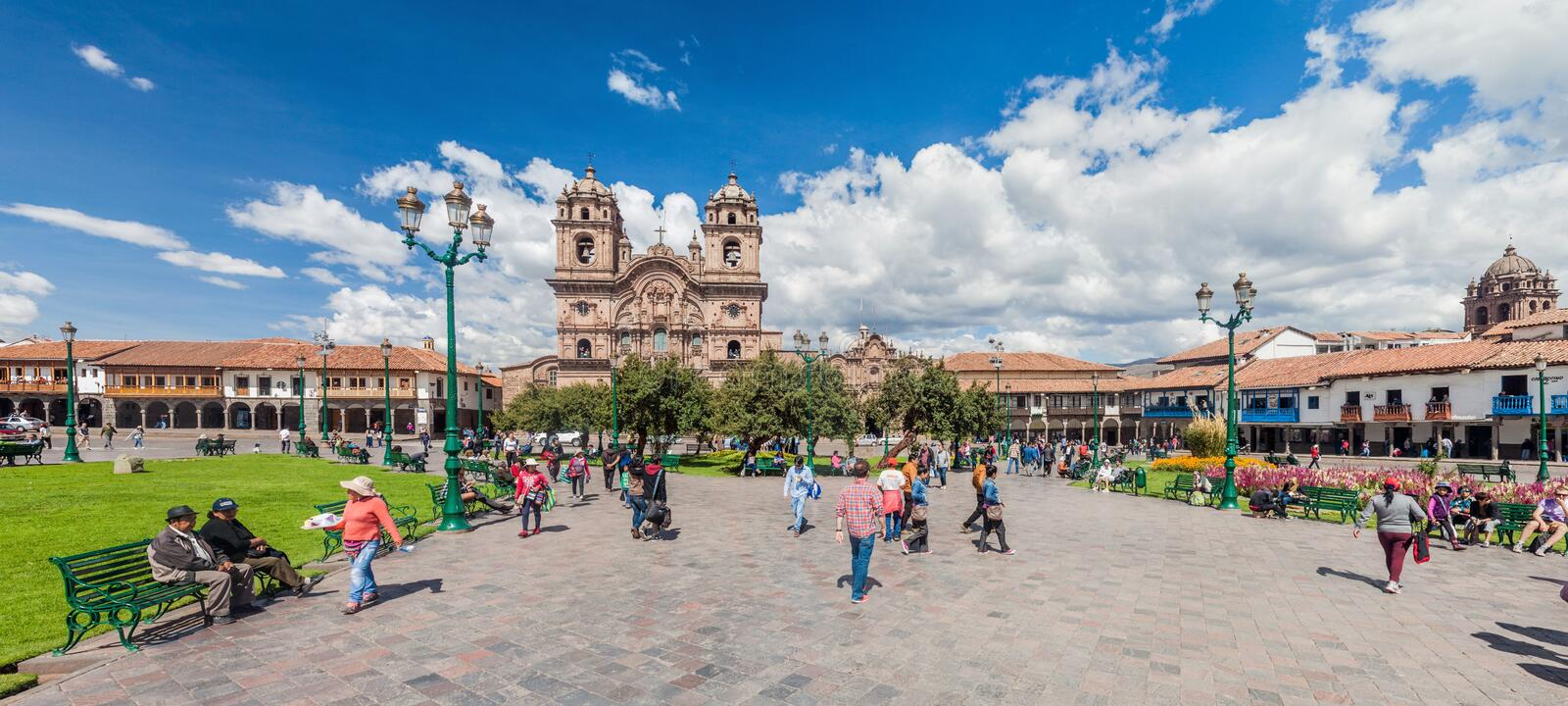 Place de Plaza de Armas dans Cuzco, Pérou photo libre de droits
