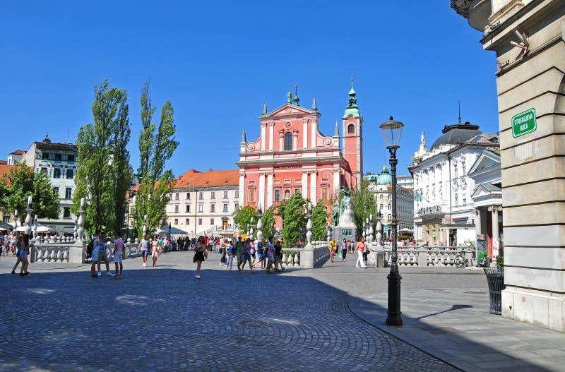 Place de Preserens et église franciscaine de St, Ljubljana, Slovénie images libres de droits