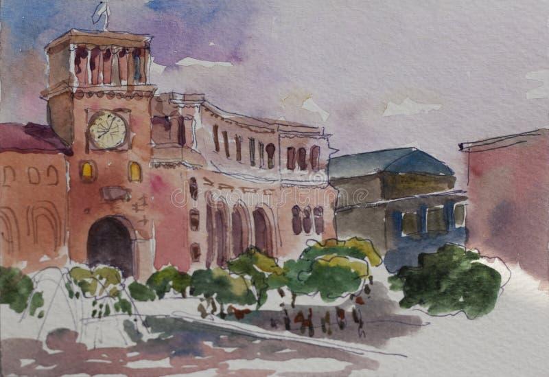 Place de république d'Erevan avec le bâtiment d'horloge et le waterco de fontaine illustration libre de droits