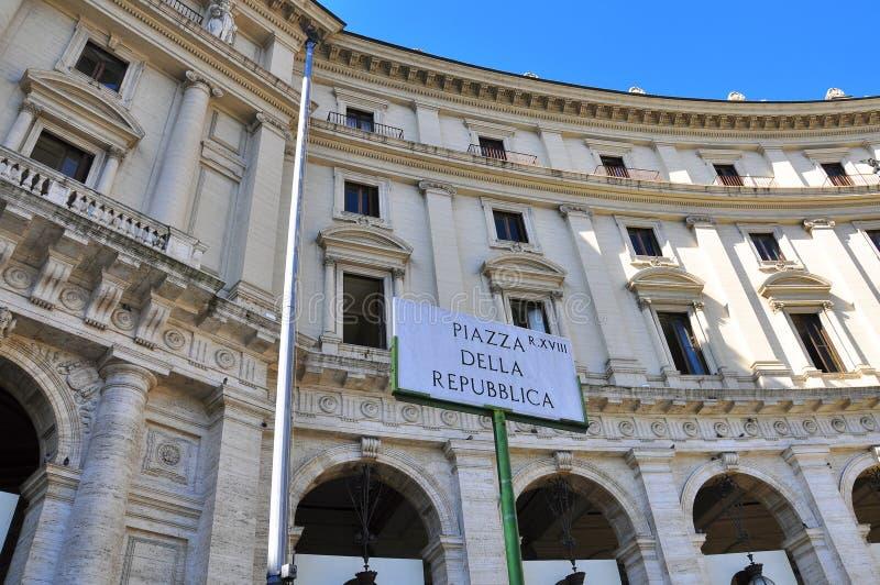 Place De Rebuplic, Rome Images libres de droits