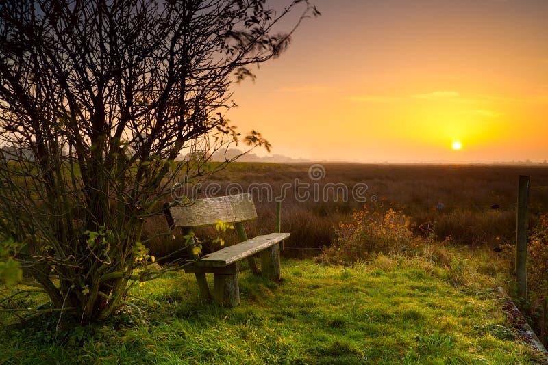 Place de reste avec le banc au lever de soleil photo libre de droits